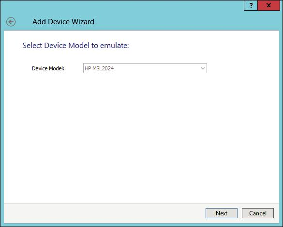 Select HP MSL2024 from Device Model to emulate
