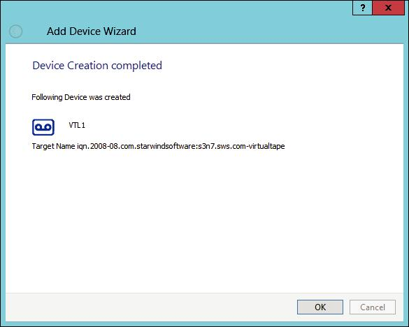 StarWind VTL Device Creation Completed Page