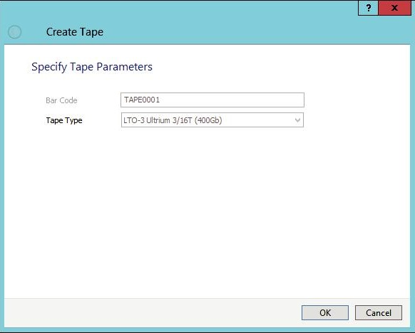 StarWind VTL See and accept tape type