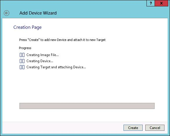 StarWind Virtual Tape Library Creation Progress page